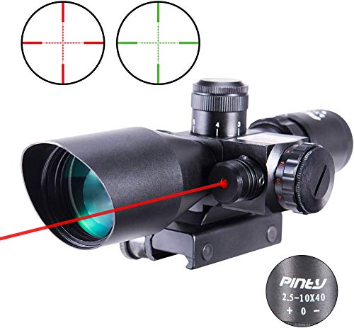 Pinty 2.5-10x40 Red Green Illuminated Mil-dot Tactical Rifle Scope