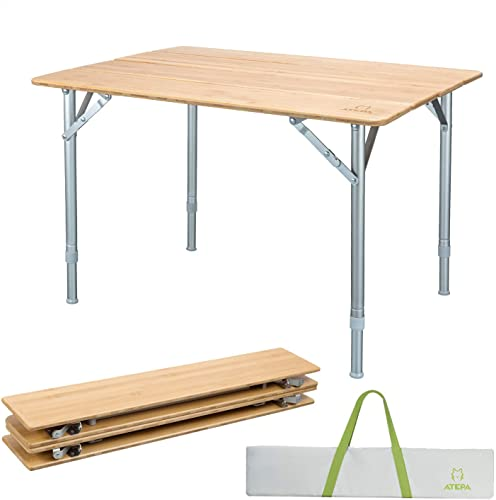 ATEPA Bamboo Folding Table with Adjustable Height for Outdoor Camping
