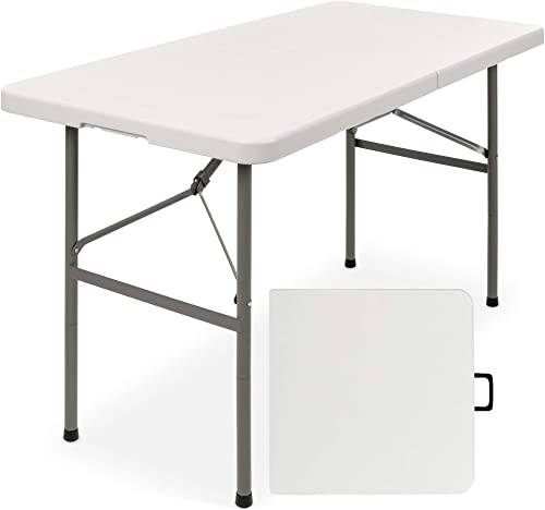 Best Choice Products Indoor Outdoor 4ft Portable Folding Plastic Camp Table