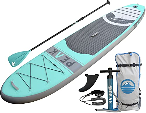 PEAK Inflatable SUP Board with Adjustable Paddle, Coil Leash and Travel Backpack