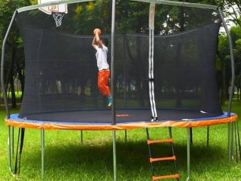 Outdoor Trampoline With Basketball Hoop Attached