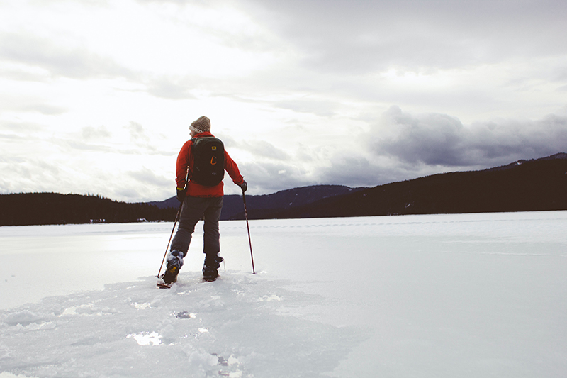 skiing to ice fishing spot
